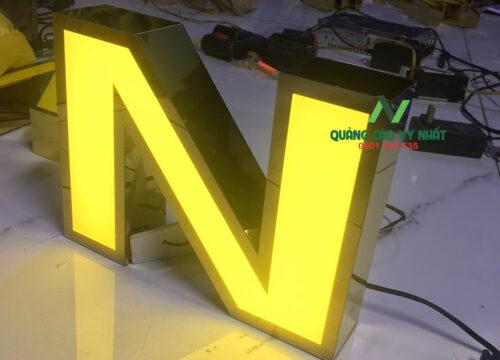 chữ Mica, viền Inox vàng